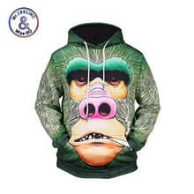 Mr.1991INC 2018 Fashion Gids 3d Sweatshirts Mannen/Vrouwen Dunne Casual Hooded Sweaters Print Ape Man Gezicht Gestreepte Truien(China)