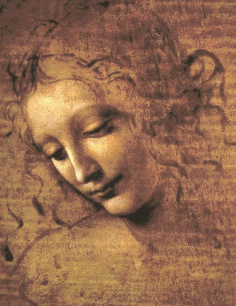 Portrait Wall Art on Canvas Oil Painting The Head of a Woman Full La Scapigliata by Leonardo Da Vinci Painting Hand Painted