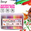 Bianyo 12 24 36 Colors Watercolor Brush Pen 4mm Soft Tip Washable Color Pen Artist Sketch Markers for School Supplies