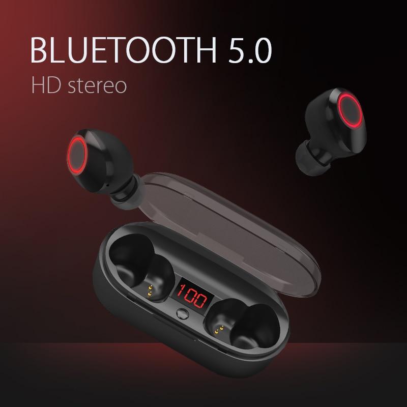 СПЦ Bluetooth наушники V5.0 мини Беспроводной наушники Бизнес стерео звук гарнитуры с микрофоном и Зарядное устройство коробка для iPhone Android