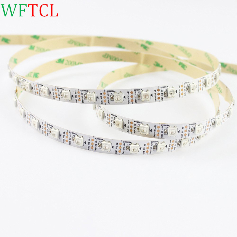 Non waterproof DC5v 5m 300 leds 60 pixels/m 5050 smd ws2812 ws2811 rgb led strip <font><b>lights</b></font>,white pcb,Programmable Addressable