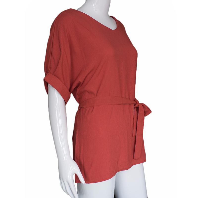 HTB1AcptQFXXXXXdXXXXq6xXFXXX7 - Women Shirts Linen Tunic Shirt V Neck Big Bow Batwing Tie