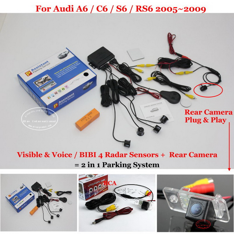 Liislee Car Parking Sensors + Rear View Camera = 2 in 1 Visual / BIBI Alarm Parking System For Audi A6 / C6 / S6 / RS6 2005~2009