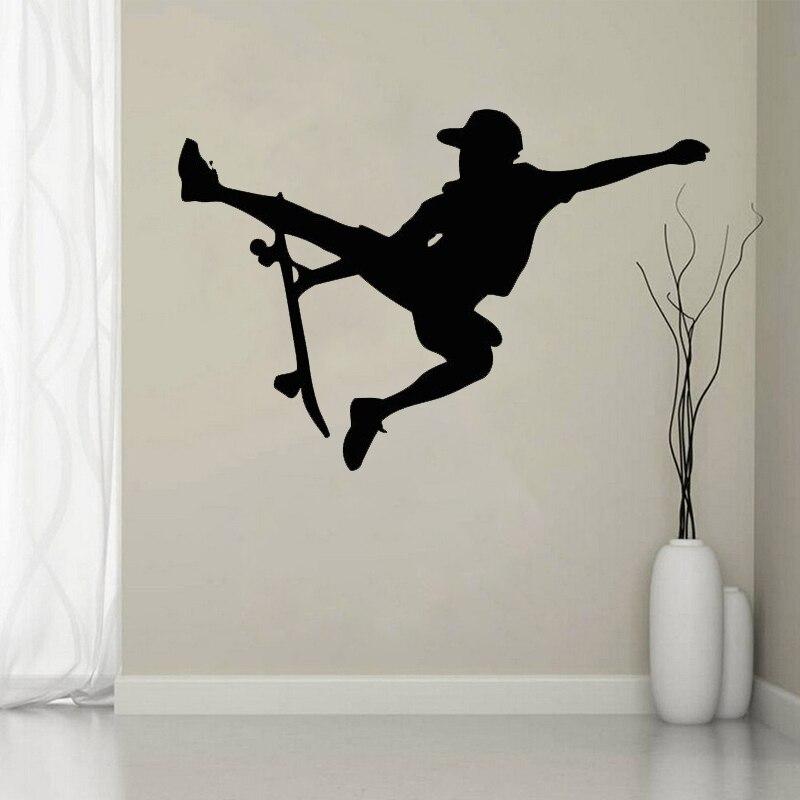 Wall Stickers Skateboard Boy Bedroom Cool Art Decals Vinyl Home Room Decor