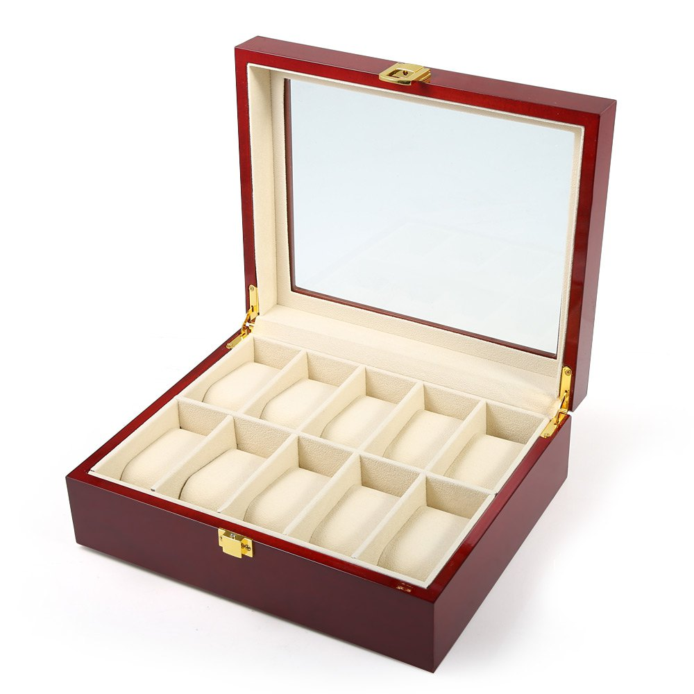 10 Grids Elegant Durable Red Wooden Watch Display Box 1
