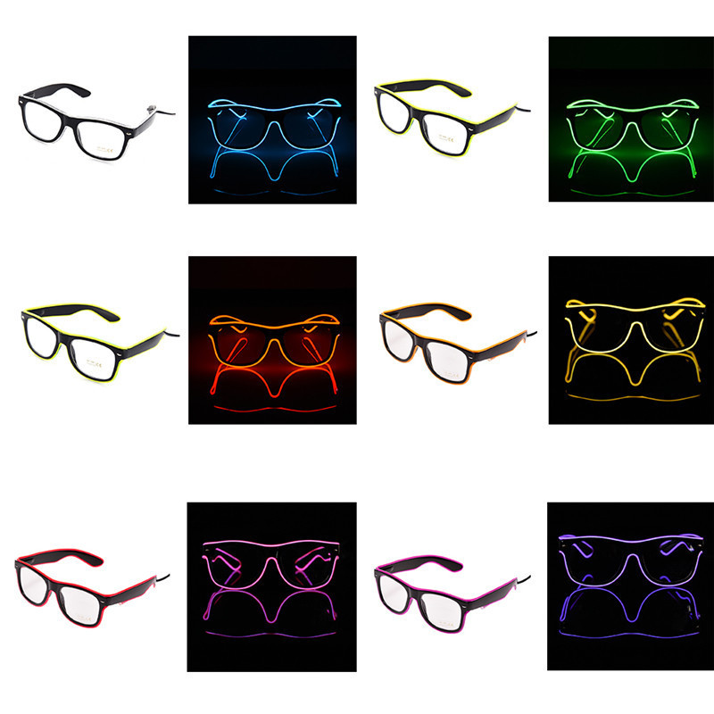 6 Colors Flaring LED Glasses Bar Party Fluorescent Dance DJ Bright Glasses EL Wire Neon  ...