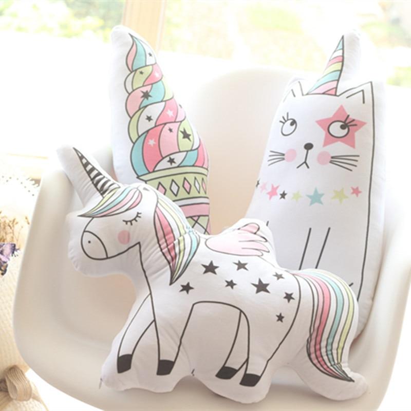 Kawaii Unicorn Plush Toy Soft Icecream Pillow Animal Shaped Doll Baby Kids Bedroom Decoration Kid Christmas Gift Toys