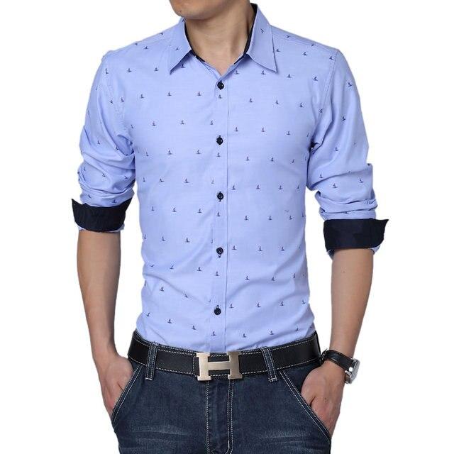 97efb0aed08a0 Moda Hombres A Estrenar Delgado Regular Fit de Manga Larga para Imprimir  Camisa de vestir Para