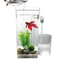 AsyPets Tự Làm Sạch Plastic Fish Máy Tính Để Bàn Bình Aquarium Betta Bể Cá cho Văn Phòng Nhà Decor-30