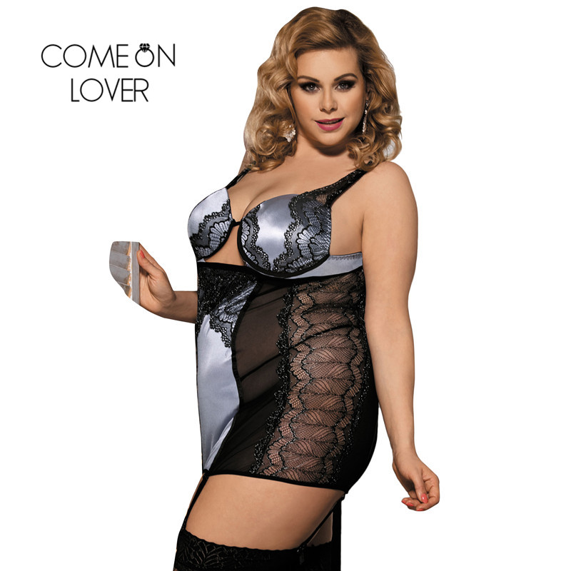Comeonlover Sexi Dress Hot Underwire Molded Cups Women Sexy Costume Lingerie Babydoll Tenue Porno Sexe Big Size Lingerie RI70345 1