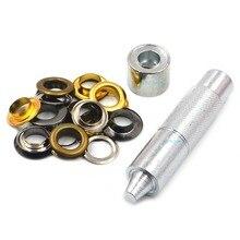 100pcs Metal 14mm Mix Colors Eyelets Buckle Scrapbook + 1pcs Punch Tool LeatherCraft DIY