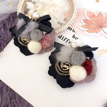 Korea Handmade Special Mink Hairball Bowknot Flower Badge Brooches Pins Fashion Jewelry For Girl Woman Accessories-SWGWBH083E