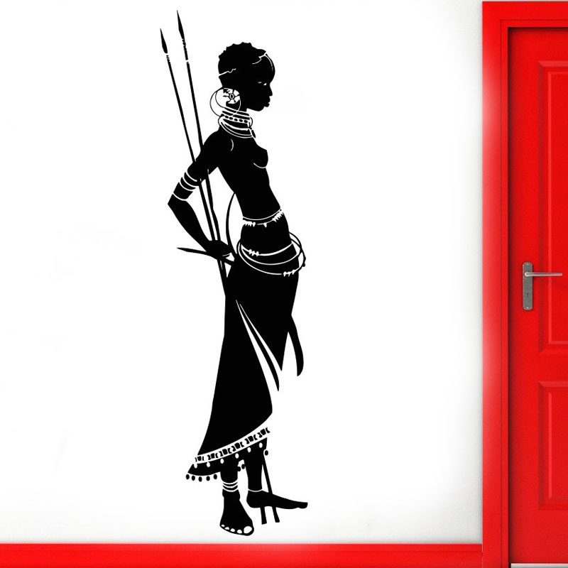 Tribal African Woman Wall Decal Africa African Style Afro American Vinyl Sticker Waterproof Self-adhesive Murals AM06