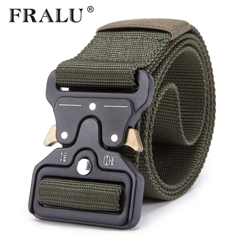 FRALU 2018 para hombres cinturón táctico militar correa de Nylon al aire libre multifuncional cinturón de formación de alta calidad correa de vestir