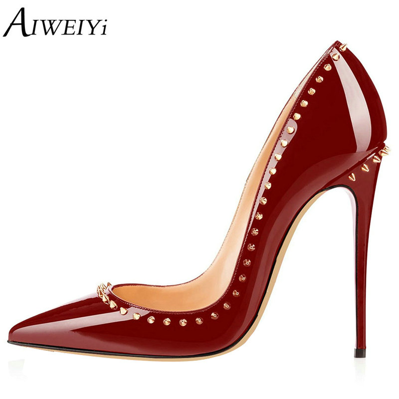 AIWEIYi Women Pointed Toe High Heels Patent Leather Stiletto Heels Shoes 12CM Sexy Pumps Black Red Evening Party Pumps Shoes цена