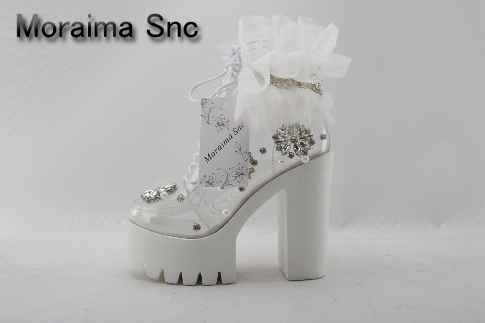 Moraima Snc transparent PVC ankle boots crystal pearl bead thick heels boots for woman lace flower platform lace-up boots newest handmade crystal pearl beading ankle boots for 2018 woman sweet lace flower platform high chunky heels pumps wedding dress shoes
