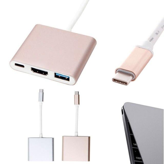 """UBS 3.1 Tipo-C a 4 K 3 em 1 HDMI Conversor Adaptador USB 3.0 HUB para Macbook 12"""""""