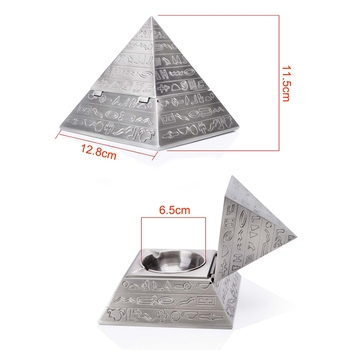цена на Silver creative fashion decoration classic vintage Egyptian metal carved pyramid with lid ashtray home decoration gift
