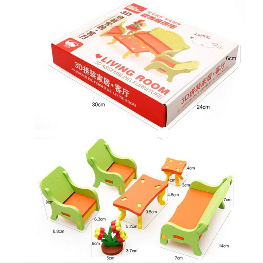 DIY Imagination Kid Children Educational Toy Wooden 3D Puzzle Home Table Chair SofaDo-It-Yourself Building t211