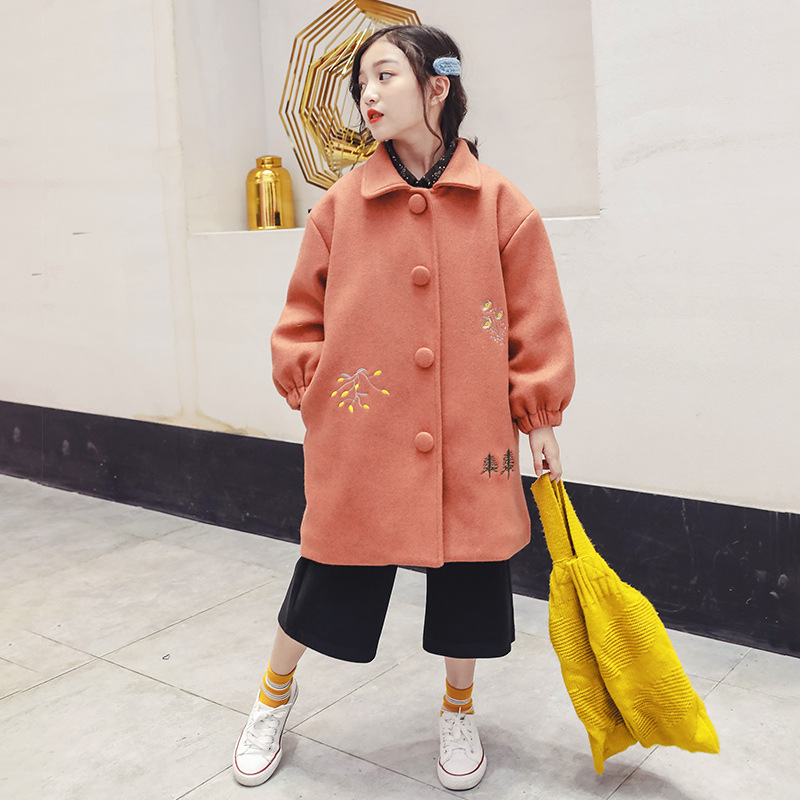 woolen Coat For Girls 2018 New Korean Style Little Girl Thickened Cotton Jackets Winter Embroidered Wool Coat 6 8 9 10 11 12 13 недорго, оригинальная цена