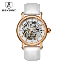 SEKARO Brand Women Mechanical Watches Diamond Ladies hand-winding Wristwatches 2017 Fashion Skeleton Dial Gift for Female