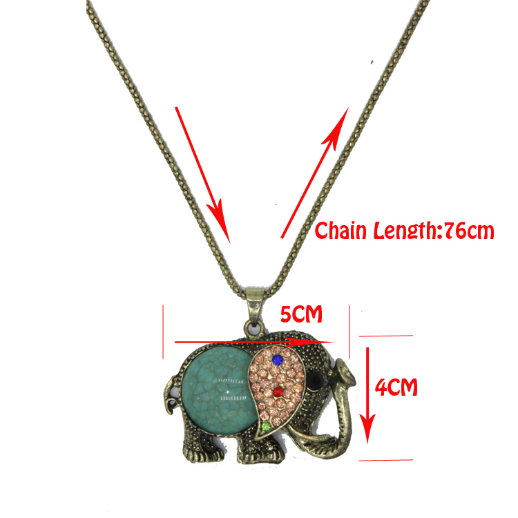 High Quality Fashion vintage jewelry accessories bohemia long design retro gem rhinestone elephant necklace pendant for women