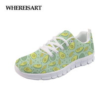 WHEREISART Women Fashion Sneaker Avocado Prints Women's Flats Shoes Lace-up Breathable Mesh Casual Shoes Woman Ladies Zapatos