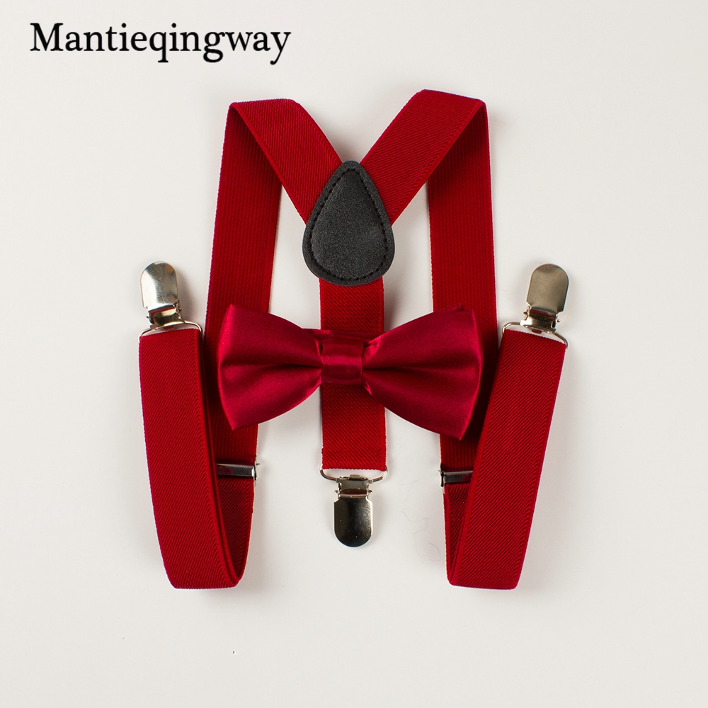 Mantieqingway Boys Girl Kid Suspender Adjustable Elastic 3 Clip Y-Back Braces Baby Suspenders Set Bow Tie  Suspender For Wedding