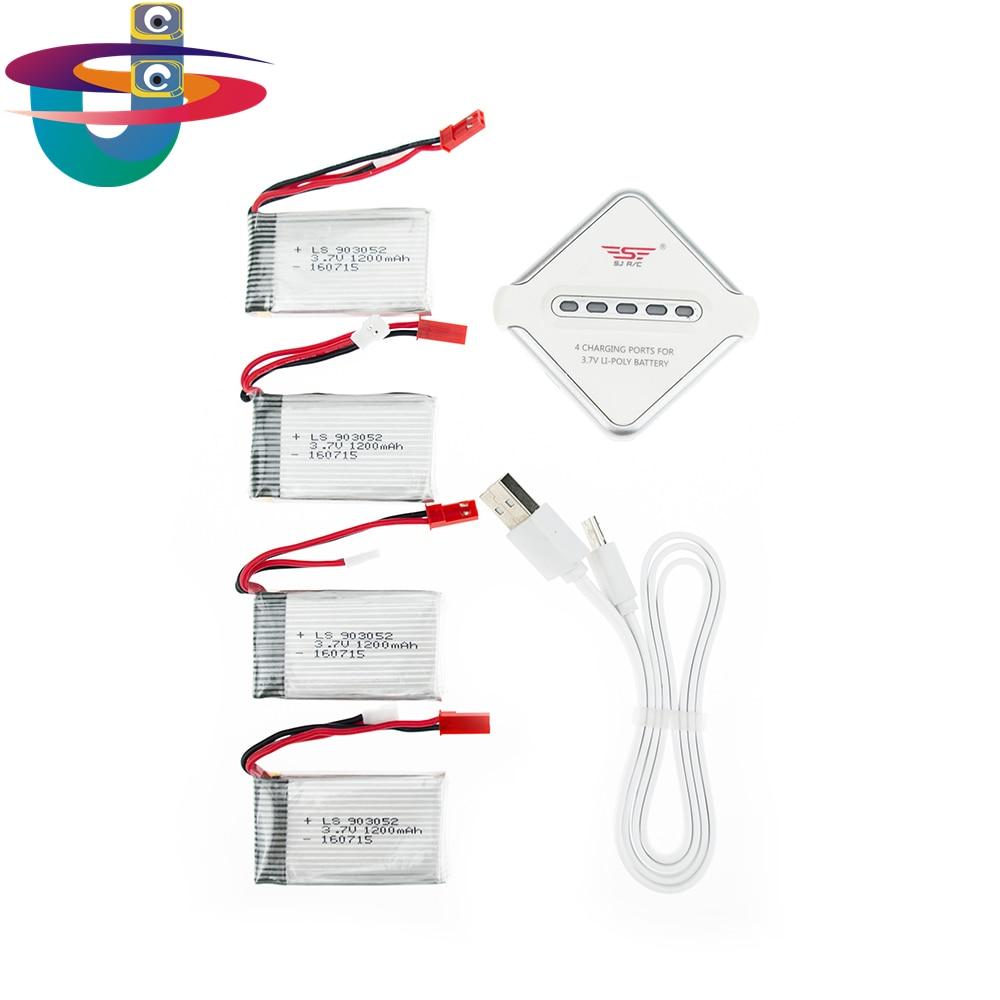 4pcs 3.7V 1200mAh 25C Rechargeable Lipo Battery with charger set 903052 For RC SYMA X5SW X5SC M18 H5P drone картридж cactus 520 cs pgi520bk black