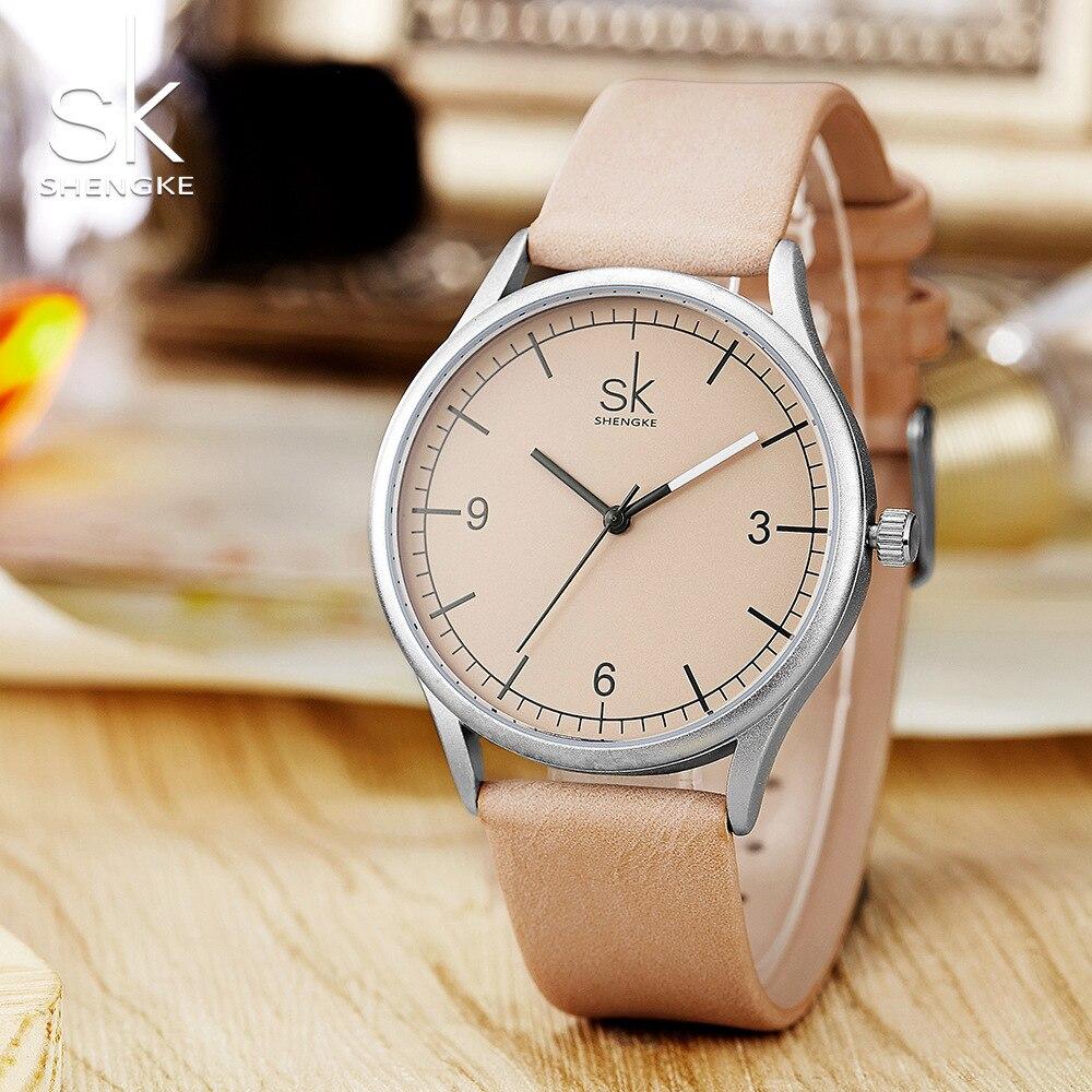 Image 5 - Shengke Лидирующий бренд, кварцевые часы для женщин, Повседневная мода, японский механизм, кожа, аналоговые наручные часы, минималистичный дизайн, Relogio подарокЖенские часы   -