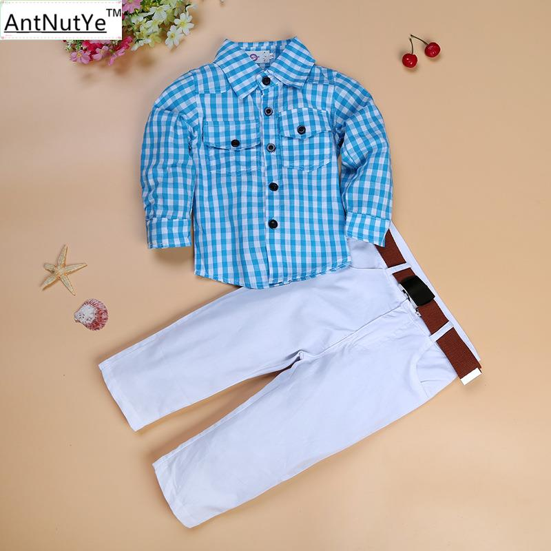 Boys Kids Blazers Suits Blue Plaid Shirts Wedding Formal Children Sets Tuxedos Costume White Pants With Belt Clothes