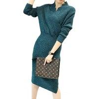נשים סקסי צד סדק שרוול ארוך נשים שמלת ירך חבילת סריגה הקלאסי Slim Fit סתיו חורף שמלת פוליפוני סוודר V צוואר XH634