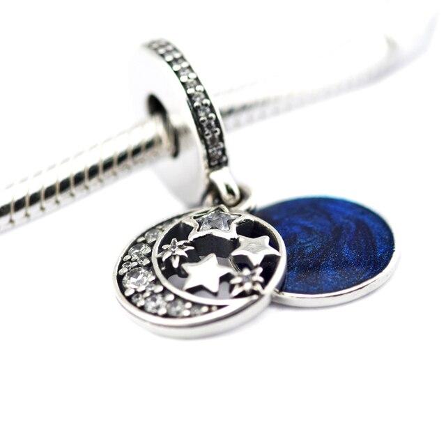 New Beads 925 Sterling Silver Vintage Night Sky Dangle with Midnight Blue Enamel & CZ Fits Pandora Charms Bracelet FL477