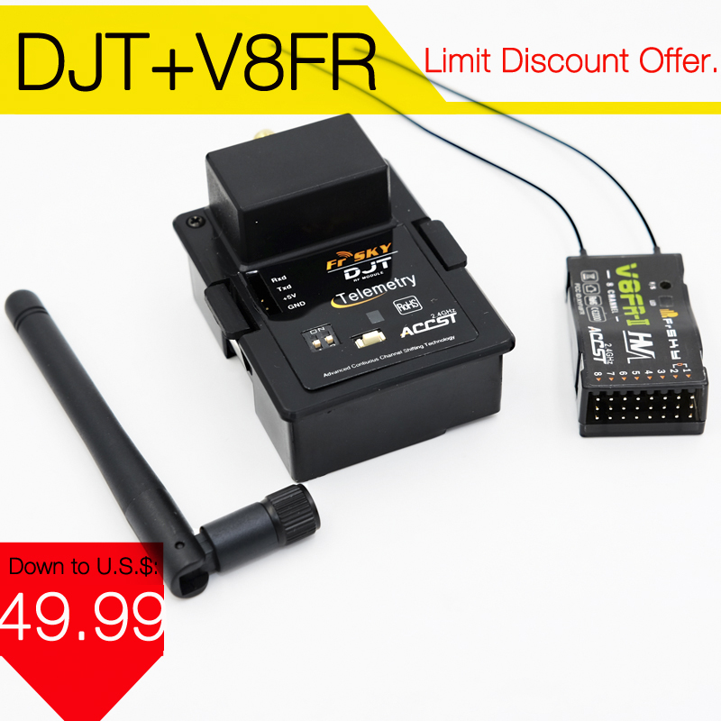 FrSky DJT 2.4Ghz Combo Pack for JR/Flysky/ Turnigy 9XR w/ Telemetry Module & V8FR-II RX frsky djt 2 4ghz combo pack for jr w module with d8r ii plus receiver