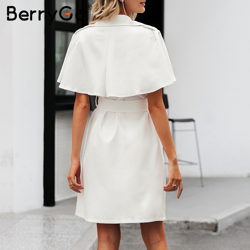 Image 4 - BerryGo White buttons women blazer dress Elegant ruffled sleeve  sash belt office ladies trench dress V neck shawl party  vestidosDresses