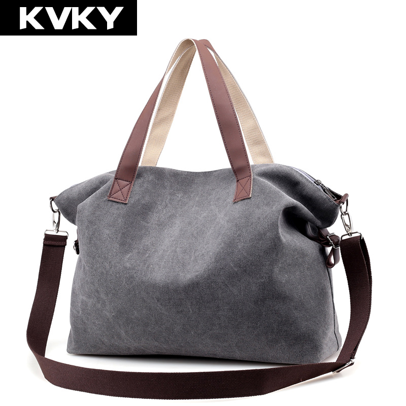 KVKY Vintage Woman Canvas Handbags Large Capacity Casual Tote Women Shoulder Bag Brand  Messenger Bags Ladies Shopping Bag Bolsa casual women leather handbags bucket shoulder bags ladies cross body bags large capacity ladies shopping bag bolsa 6 colors