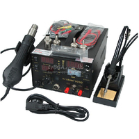Saike 909D Soldering solder Station Welding machine 3 in 1 Soldering iron+Hot Air Gun+Power Supply