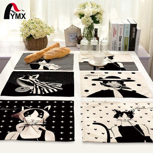 Симпатичные с рисунком кота Столовые салфетки для Свадебная вечеринка Столовая салфетка ткань Западной ужин Коврики Домашний текстиль Мода Декор