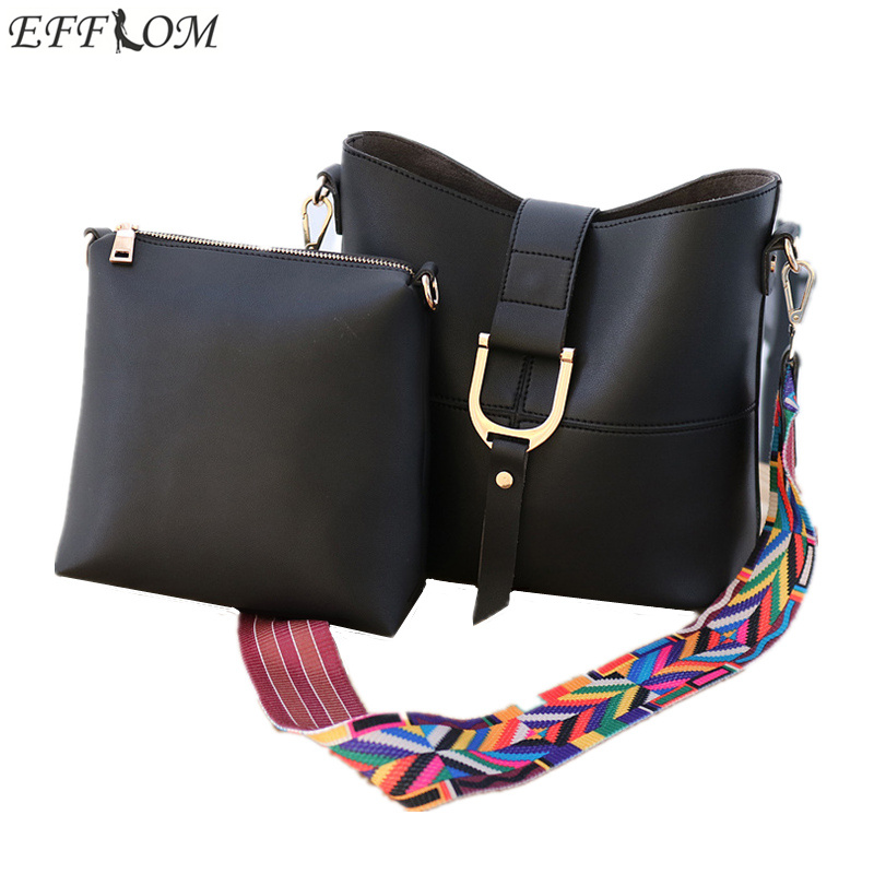 Luxury Handbags Women Bags Designer Brand Famous Colorful Strap Shoulder Bucket Bag Female Vintage PU Leather Crossbody Bag 2PCS famous brand new 2017 women clutch bags messenger bag pu leather crossbody bags for women s shoulder bag handbags free shipping