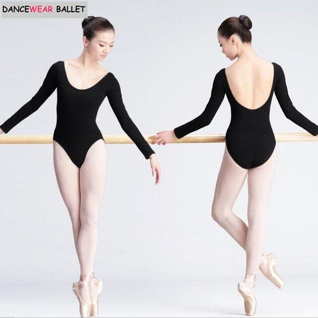 fda93c4257a7 Women Black Long Sleeve Leotard Sexy Ballet Dancewear Adult Cotton Spandex  Leotards Bodysuit Gymnastics Costumes Unitard