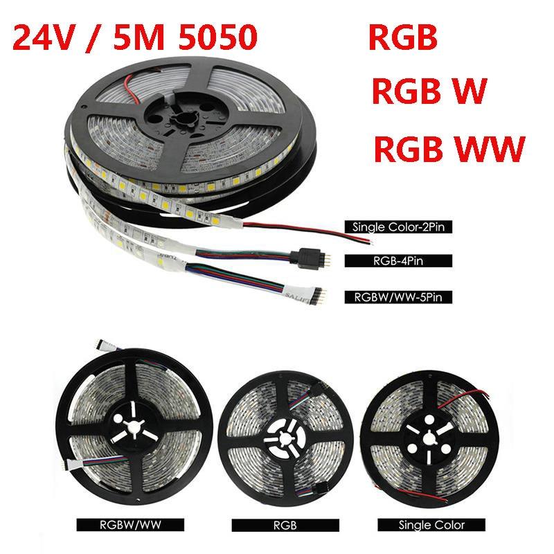 LED Strip Light 5050 RGB RGBW RGBWW 24V 5M 60LEDs/m ledstrips 24 v waterproof Flexible led cable Tape Lamp Strip For decoration цена