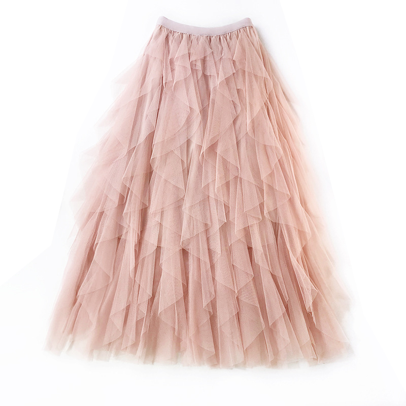 3570ad92e High Waist Women Pleated Skirts 2019 New Summer 20 Pieces Ruffles Elegant  Mesh Skirt Romantic Tulle Skirt Midi Skirts Jupe Femme