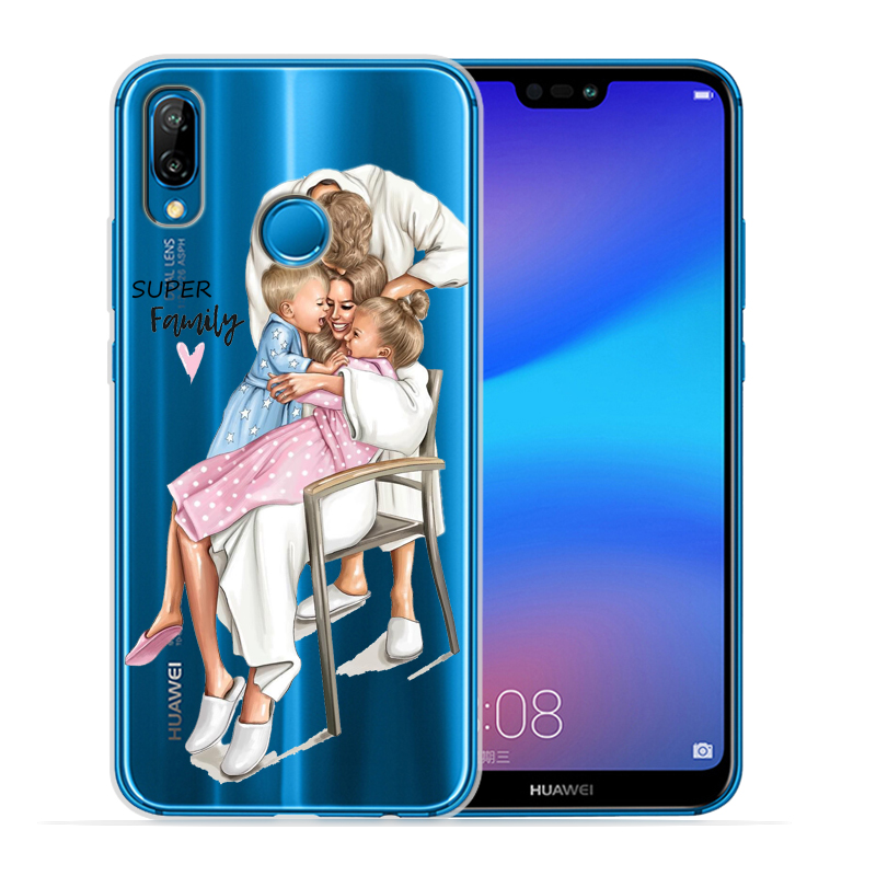 Чехол для телефона с черными и коричневыми волосами для мамы и дочки Huawei P30 Lite P30 Pro P20 Lite P8Lite P9Lite P10 P Smart Capa - Цвет: 07