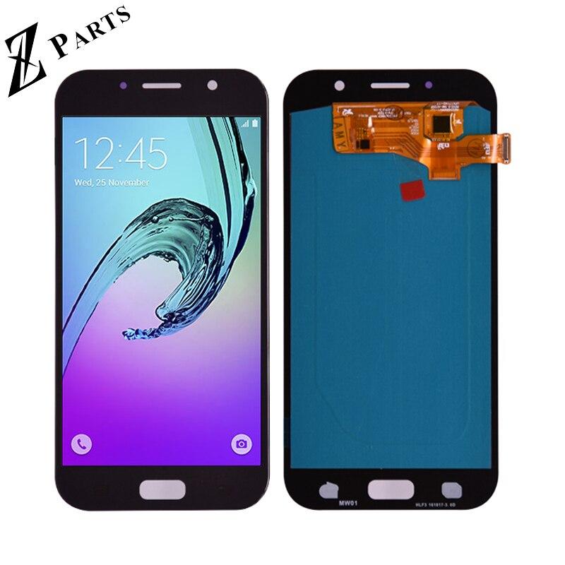 100% Super AMOLED lcd pour samsung Galaxy A7 2017 A720 A720F SM-A720F écran lcd + ensemble numériseur à écran tactile libèrent le bateau