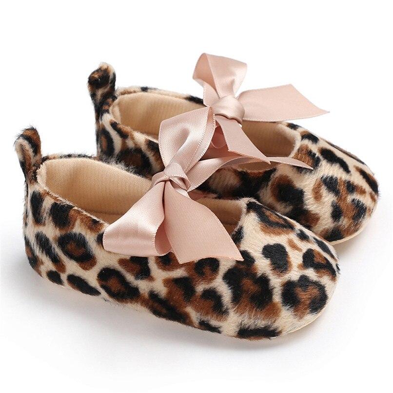 Toddler Cute Girl Leopard Print Tie Soft Newborn Anti-slip Baby Shoes First Walker A84L073