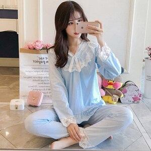Image 2 - Pajamas female spring autumn Sexy Princess breeze Korean version fresh student long sleeved pure cotton two piece winter suit