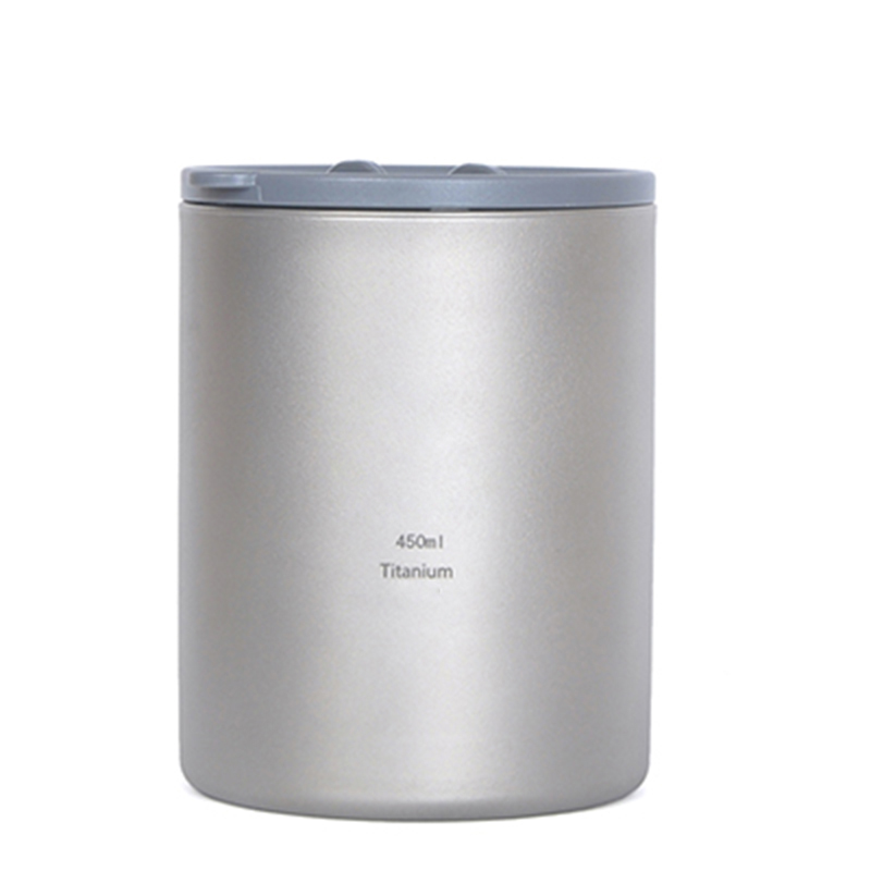 КИТ Новый 450 мл Титан Двойные стенки Кружка Титан чашки Посуда для напитков Открытый Отдых стакана воды без запаха легкий 152 г ti82