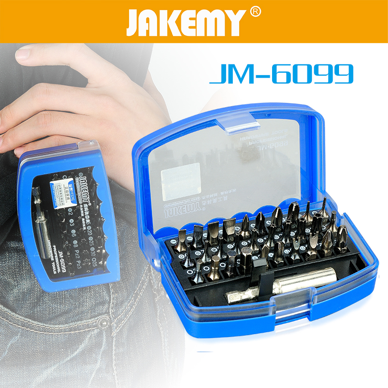 JAKEMY 31 in 1 Screwdriver Set Slotted Phillips Torx Hexagon Square Electrical Household 1/4 Strong Magnetic Screwdriver Bit Kit