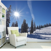 Custom Natural Landscape Wallpaper Sunrise Forest Snow Tree 3D Photo Mural For Living Room Bedroom Background