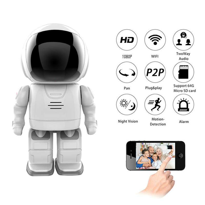 Spetu IP Camera Robot 1080P HD 2MP WIFI Wireless PTZ Two Way Audio P2P Onvif Night Vision Network Baby Monitor Security Cameras robot camera wifi 960p 1 3mp hd wireless ip camera ptz two way audio p2p indoor night vision wi fi network baby monitor security